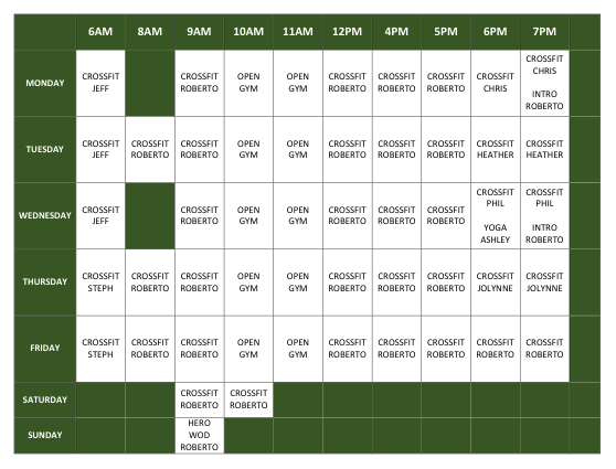 Class Schedule for Web Page (2)